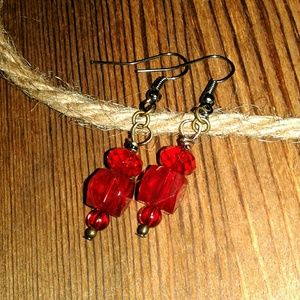 ❤5 For $25❤ Ladies,  Lady in Red Glass Earrings